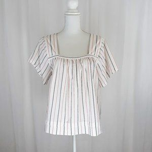 Madewell Striped Square Neck Top Sz M